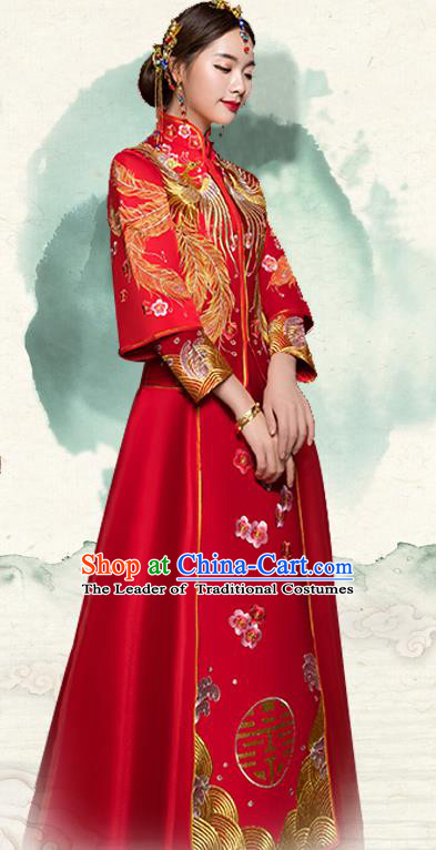 Traditional Ancient Chinese Wedding Costume Handmade Delicacy Embroidery Phoenix Long Sleeve XiuHe Suits, Chinese Style Hanfu Wedding Bride Toast Cheongsam for Women