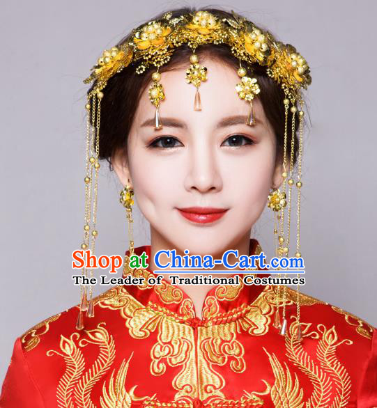 Traditional Handmade Chinese Ancient Classical Hair Accessories Bride Wedding Golden Flowers Hair Clasp Phoenix Coronet, Xiuhe Suit Hair Jewellery Hair Fascinators Hairpins for Women