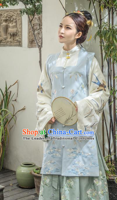 Traditional Ancient Chinese Ming Dynasty Palace Lady Costume Embroidery Sleeveless Over-dress, Elegant Hanfu Clothing Chinese Imperial Princess Clothing for Women