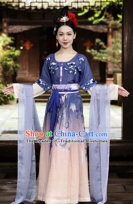 Traditional Ancient Chinese Tang Dynasty Imperial Princess Dance Costume Embroidery Half-arm Shawl Slip Dress, Elegant Hanfu Clothing Chinese Palace Lady Dress for Women