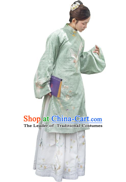 Traditional Ancient Chinese Ming Dynasty Imperial Princess Costume Embroidery Long Robe, Elegant Hanfu Clothing Chinese Palace Lady Green Dress for Women