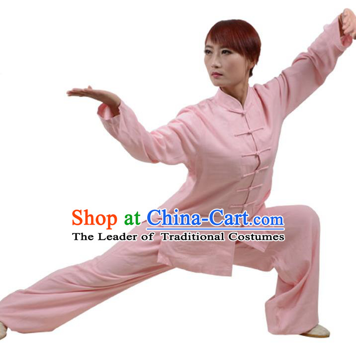Top Kung Fu Linen Costume Martial Arts Costume Kung Fu Training Clothing, Tai Ji Plated Buttons Pink Uniform Gongfu Wushu Clothing for Women for Men