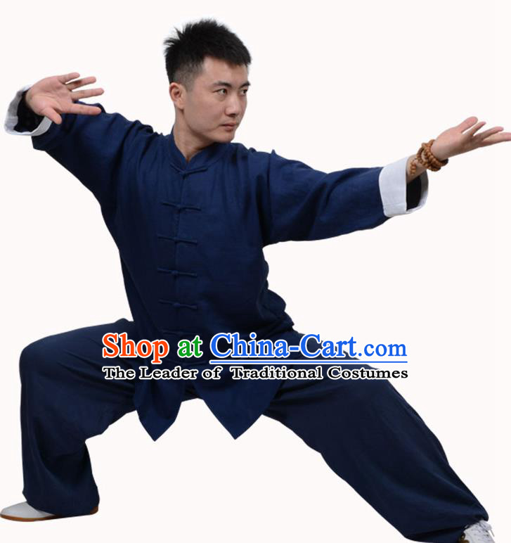 Top Martial Arts Costume Kung Fu Training Clothing, Tai Ji Plated Buttons Navy Uniform Gongfu Wushu Costume  for Women for Men
