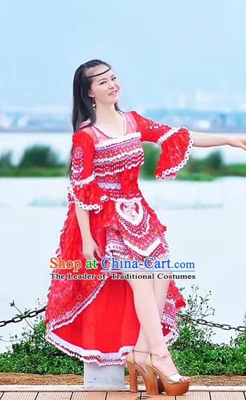 Traditional Chinese Miao Nationality Costume and Headwear, Hmong Folk Dance Ethnic Long Tailing Red Dress, Chinese Minority Nationality Embroidery Clothing for Women