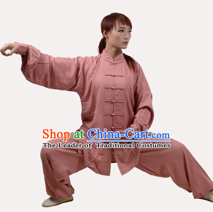 Top Grade Linen Martial Arts Costume Kung Fu Training Clothing, Tai Ji Light Pink Uniform Gongfu Wushu Costume for Women for Men