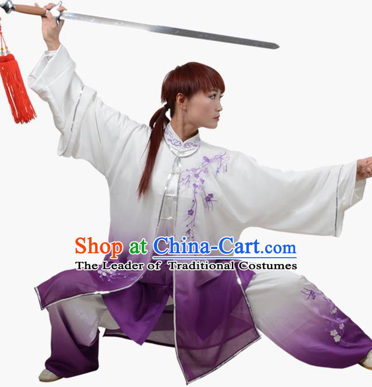 Top Grade Linen Martial Arts Costume Kung Fu Training Embroidered Plum Blossom Clothing, Tai Ji Southern Fist Purple Three-piece Uniform Gongfu Wushu Costume for Women for Men