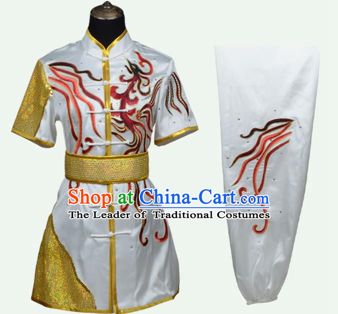 Top Grade Martial Arts Costume Kung Fu Training Embroidery White Clothing, Long Fist Tai Ji Uniform Gongfu Wushu Costume for Women for Men