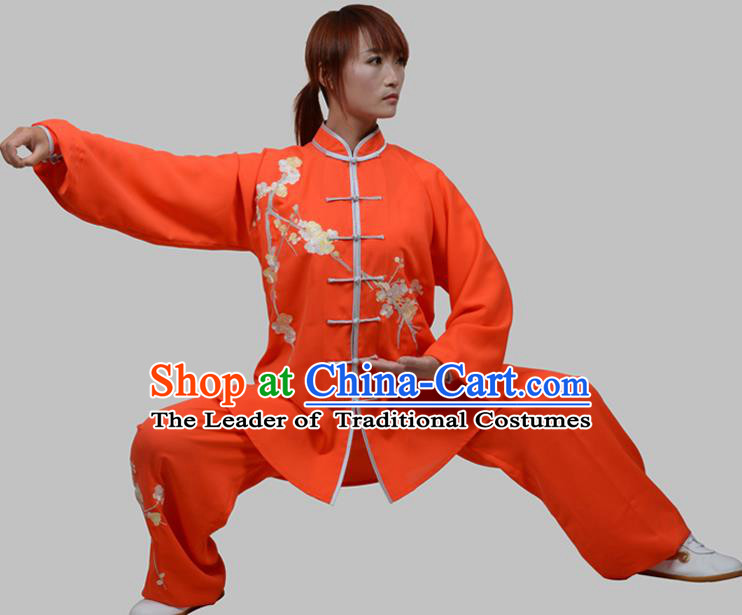 Top Grade China Martial Arts Costume Kung Fu Training Embroidery Plum Blossom Clothing, Chinese Embroidery Tai Ji Red Uniform Gongfu Wushu Costume for Women