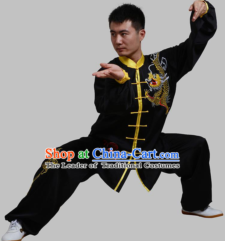 Top Grade China Martial Arts Costume Kung Fu Training Embroidery Black Clothing, Chinese Embroidery Dragon Tai Ji Uniform Gongfu Wushu Costume for Men