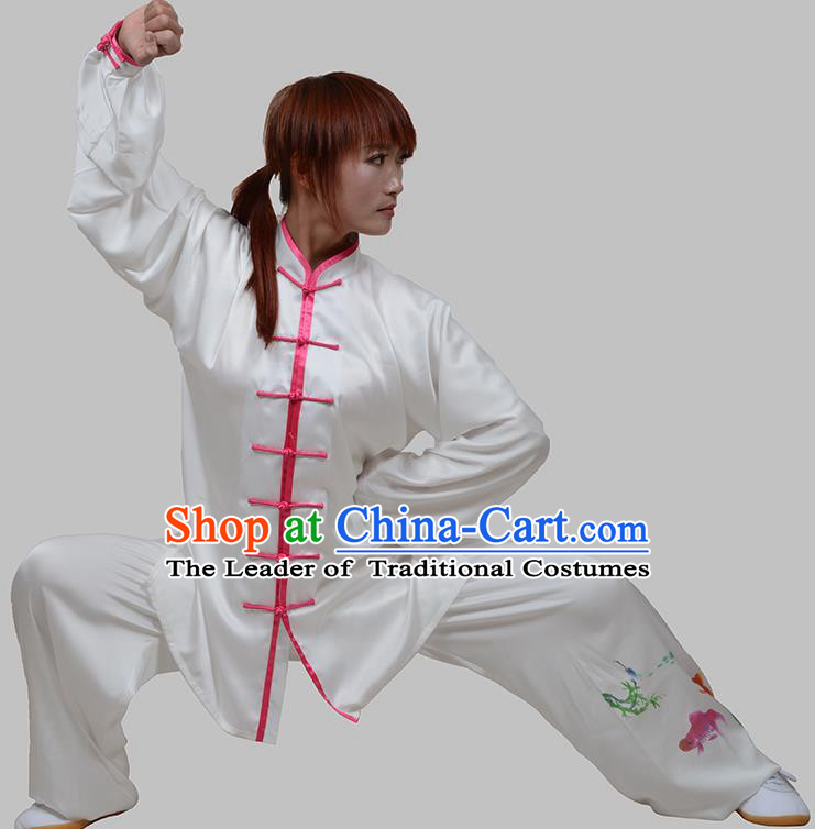 Top Grade China Martial Arts Costume Kung Fu Training Painting Fishes Clothing, Chinese Tai Ji Uniform Gongfu Wushu Costume for Women for Men