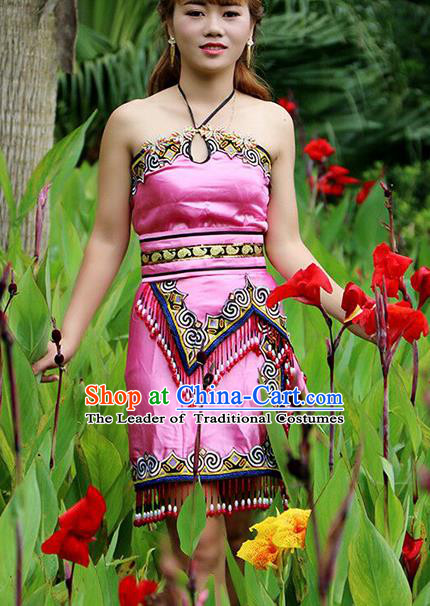 Traditional Chinese Miao Nationality Dance Costume, Hmong Female Folk Dance Ethnic Pink Short Pleated Skirt, Chinese Minority Nationality Embroidery Costume for Women
