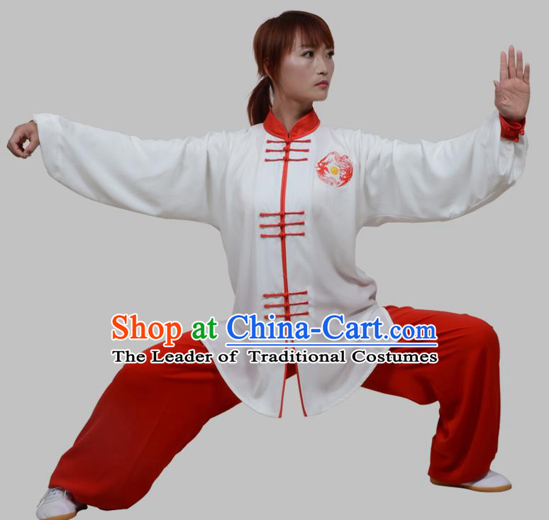 65f52d502 Top Grade China Martial Arts Costume Kung Fu Training Plated Buttons  Clothing, Chinese Embroidery Tai Ji White Uniform Gongfu Wushu Costume for  Women for ...