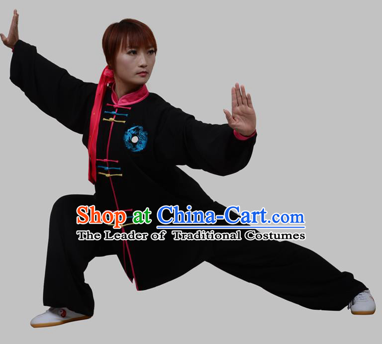 Top Grade China Martial Arts Costume Kung Fu Training Colorful Plated Buttons Clothing, Chinese Embroidery Tai Ji White Uniform Gongfu Wushu Costume for Women for Men