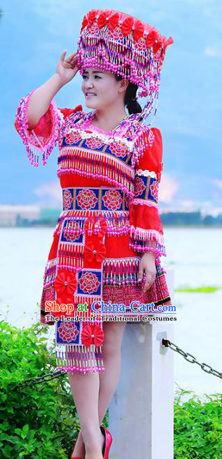 Traditional Chinese Miao Nationality Wedding Costume, Hmong Young Lady Folk Dance Ethnic Red Pleated Dress, Chinese Minority Nationality Embroidery Clothing for Women