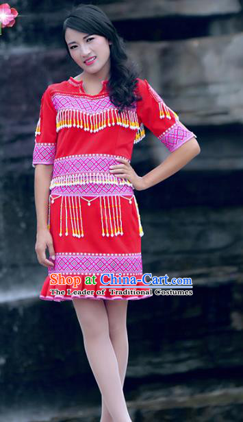 Traditional Chinese Miao Nationality Costume, Hmong Young Lady Folk Dance Ethnic Tassel Red Dress, Chinese Minority Nationality Embroidery Clothing for Women