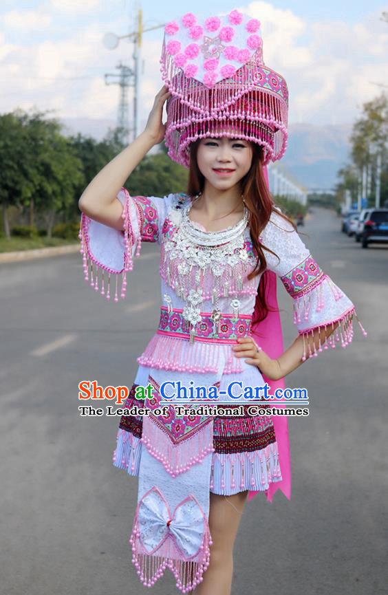 Traditional Chinese Miao Nationality Wedding Bride Costume Pink Pleated Skirt and Hat, Hmong Folk Dance Ethnic Chinese Minority Nationality Embroidery Clothing for Women