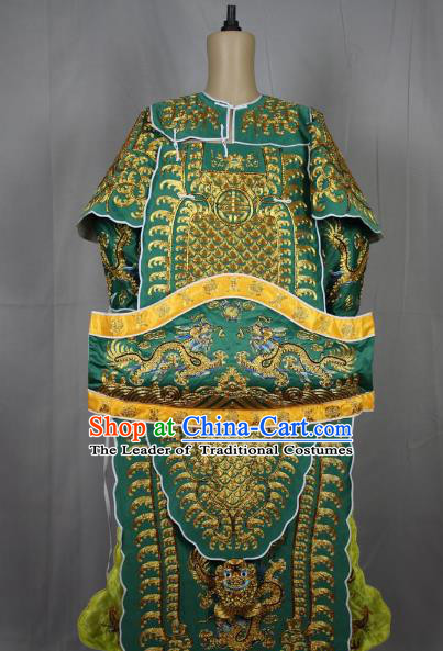 Traditional China Beijing Opera Takefu General Red Costume, Ancient Chinese Peking Opera Wu-Sheng Military Officer Warrior Embroidery Clothing