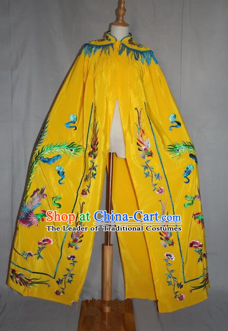 Top Grade Professional Beijing Opera Young Lady Costume Hua Tan Yellow Embroidered Phoenix Cloak, Traditional Ancient Chinese Peking Opera Diva Embroidery Mantle Clothing