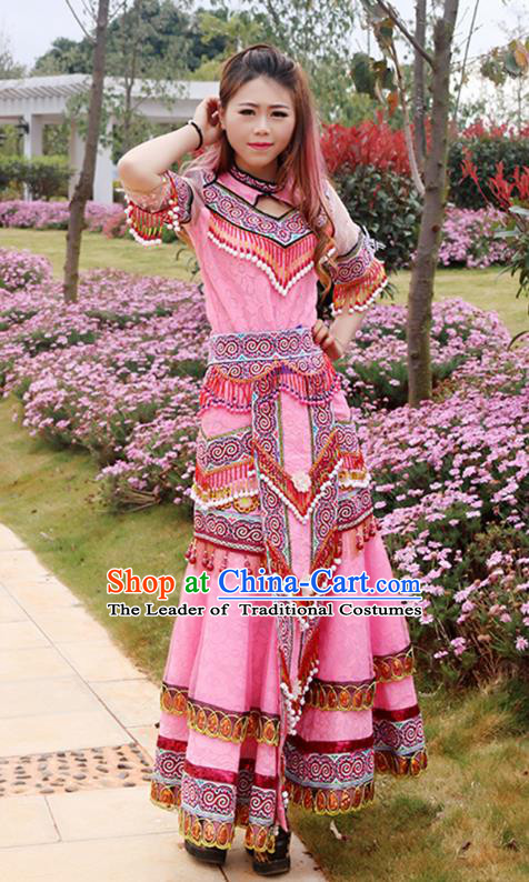 Traditional Chinese Miao Nationality Wedding Veil Costume Embroidered Pink Dress, Hmong Folk Dance Ethnic Chinese Minority Nationality Embroidery Clothing for Women