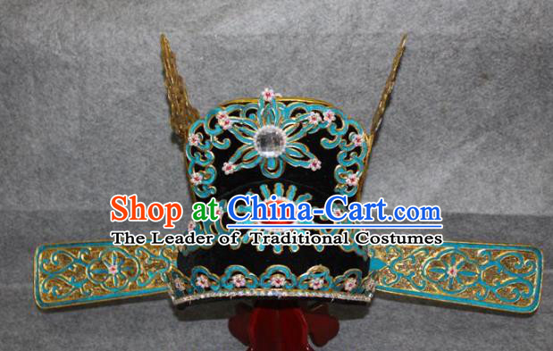 Traditional Handmade Chinese Ancient Classical Hair Accessories Peking Opera Niche Hat, China Beijing Opera Lang Scholar Headgear