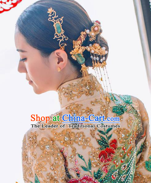 Traditional Handmade Chinese Ancient Classical Hair Accessories Bride Wedding Barrettes Hairpins Phoenix Coronet Complete Set, Hair Sticks Hair Jewellery for Women