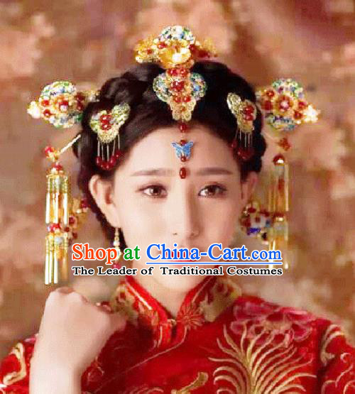 Traditional Handmade Chinese Ancient Classical Hair Accessories Barrettes Xiuhe Suit Cloisonne Phoenix Coronet Complete Set, Tassel Step Shake Hanfu Hair Fascinators for Women