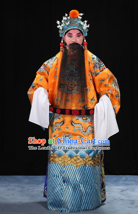 Top Grade Professional Beijing Opera Emperor Costume General Yellow Embroidered Robe and Belts, Traditional Ancient Chinese Peking Opera Royal Highness Embroidery Dragons Clothing