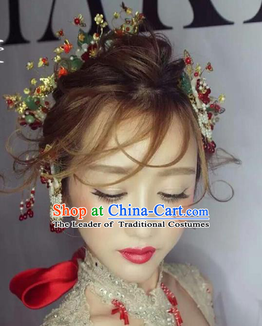 Traditional Handmade Chinese Ancient Classical Hair Accessories Barrettes Xiuhe Suit Flowers Hair Comb Complete Set, Long Tassel Step Shake, Hanfu Hairpins Hair Fascinators for Women