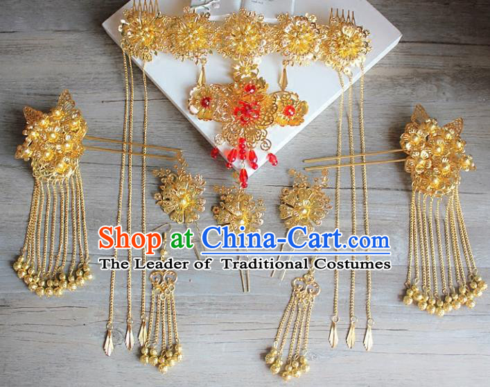 Traditional Handmade Chinese Ancient Classical Hair Accessories Barrettes Xiuhe Suit Golden Phoenix Coronet Complete Set, Hanfu Hairpins Hair Fascinators for Women