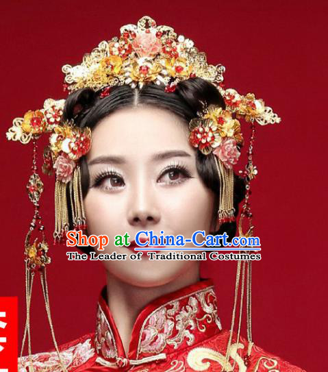 Traditional Handmade Chinese Ancient Classical Hair Accessories Barrettes Xiuhe Suit Phoenix Coronet Complete Set, Hanfu Hairpins Hair Fascinators for Women
