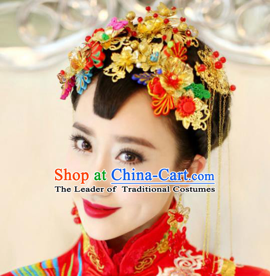 Traditional Handmade Chinese Ancient Classical Hair Accessories Barrettes Xiuhe Suit Cheongsam Tassel Hair Comb Phoenix Coronet Complete Set, Hanfu Hairpins Hair Fascinators for Women