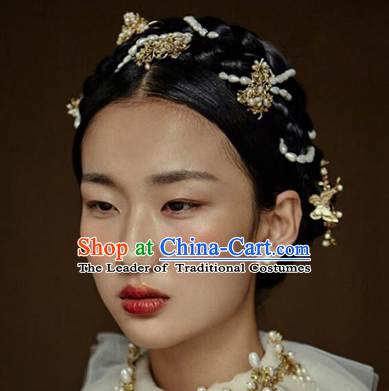 Traditional Handmade Chinese Ancient Classical Hair Accessories Barrettes Pearls Hair Clasp, Hanfu Hair Fascinators for Women