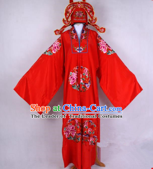 Top Grade Professional Beijing Opera Niche Costume Gifted Scholar Red Embroidered Cape, Traditional Ancient Chinese Peking Opera Embroidery Robe Clothing