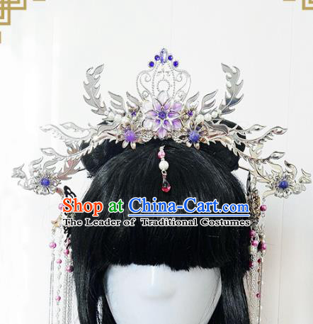 Traditional Handmade Chinese Ancient Classical Wedding Hair Accessories Bride Purple Phoenix Coronet Complete Set, Hanfu Hair Jewellery Hair Fascinators for Women