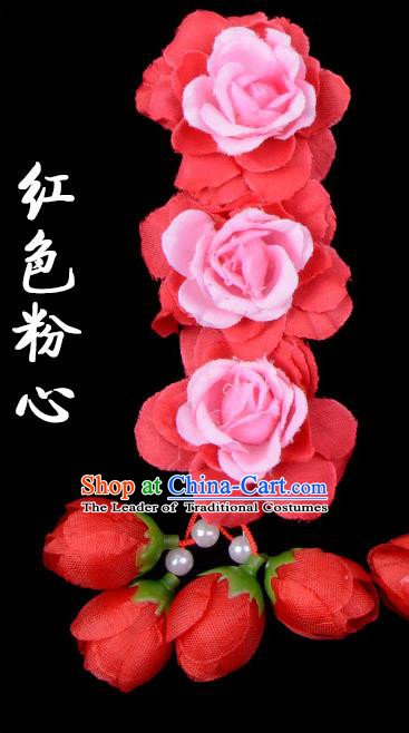 Traditional Beijing Opera Diva Red Hair Accessories Red Flowers Temples Hairpin, Ancient Chinese Peking Opera Tassel Step Shake Hua Tan Hairpins Headwear