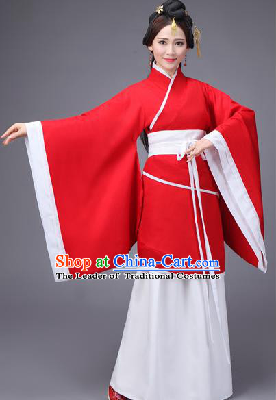 Traditional Chinese Hanfu Han Dynasty Princess Wedding Costume Red Curve Bottom, Elegant Hanfu Clothing Chinese Ancient Dress for Women