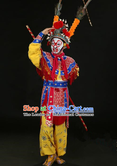 Traditional China Beijing Opera Takefu Sun Wukong Costume, Ancient Chinese Peking Opera Wu-Sheng Handsome Monkey King Embroidery Clothing