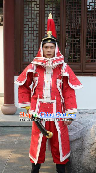 Traditional China Beijing Opera Qing Dynasty General Costume Red Helmet and Armour, Ancient Chinese Peking Opera Manchu Imperial Bodyguard Warrior Clothing