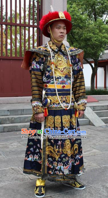 Traditional China Beijing Opera Qing Dynasty Emperor Costume Black Embroidered Robe, Ancient Chinese Peking Opera Manchu Embroidery Dragon Clothing