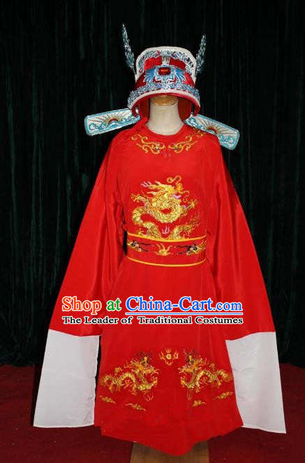 Top Grade Professional Beijing Opera Niche Costume Gifted Scholar Red Embroidered Robe, Traditional Ancient Chinese Peking Opera Embroidery Gwanbok Clothing for Kids