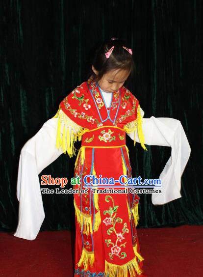 Top Grade Professional Beijing Opera Imperial Concubine Costume Hua Tan Embroidered Dress, Traditional Ancient Chinese Peking Opera Diva Embroidery Clothing for Kids