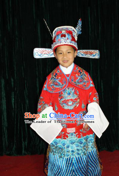 Top Grade Professional Beijing Opera Bridegroom Embroidered Dress, Traditional Ancient Chinese Peking Opera Lang Scholar Embroidery Clothing for Kids