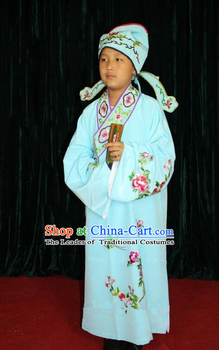 Top Grade Professional Beijing Opera Niche Costume Blue Embroidered Robe, Traditional Ancient Chinese Peking Opera Lang Scholar Embroidery Clothing for Kids