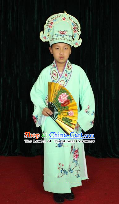 Top Grade Professional Beijing Opera Niche Costume Young Men Green Embroidered Robe, Traditional Ancient Chinese Peking Opera Scholar Embroidery Clothing for Kids