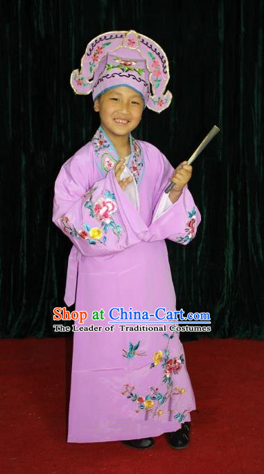 Top Grade Professional Beijing Opera Niche Costume Young Men Purple Embroidered Robe, Traditional Ancient Chinese Peking Opera Scholar Embroidery Clothing for Kids
