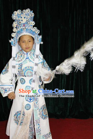 Traditional China Beijing Opera Takefu General Costume, Ancient Chinese Peking Opera Wu-Sheng Warrior Embroidery Clothing for Kids