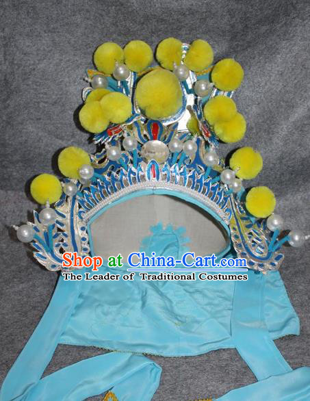 Traditional Handmade Chinese Ancient Classical Hair Accessories Peking Opera Takefu Hat, China Beijing Opera Wu-Sheng Warrior Headwear