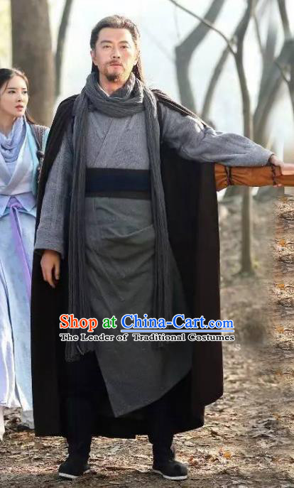 Traditional Chinese Ancient Swordsman Costume, Chinese Qin Dynasty Kawaler Hanfu Clothing for Men
