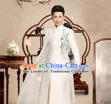 Traditional Chinese Nobility Childe Costume, Elegant Hanfu Clothing Chinese Ancient Republic of China Young Master Embroidery Robe Clothing