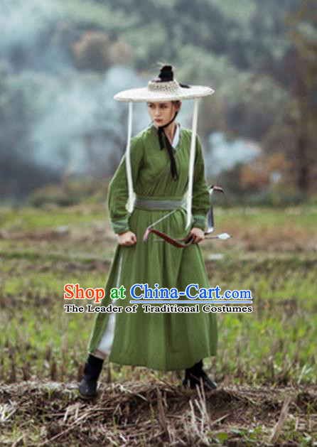 Traditional Chinese Ancient Female Swordswoman Costume, Chinese Ming Dynasty Kawaler Hanfu Chivalrous Women Green Clothing